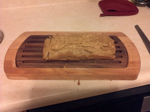 Finished sliced peanut bread