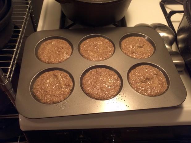 Flax buns in pan