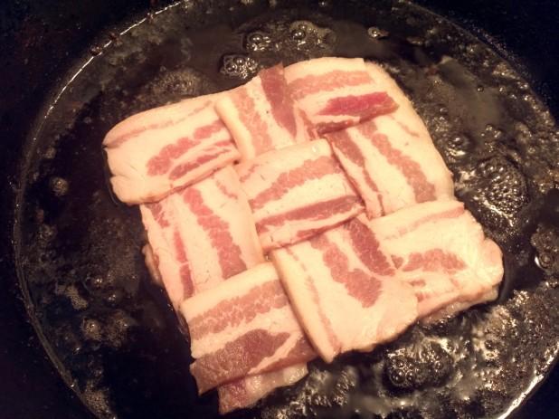 Bacon weave in skillet