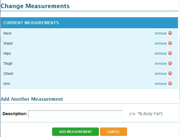 My Fitness Pal Measurements Section