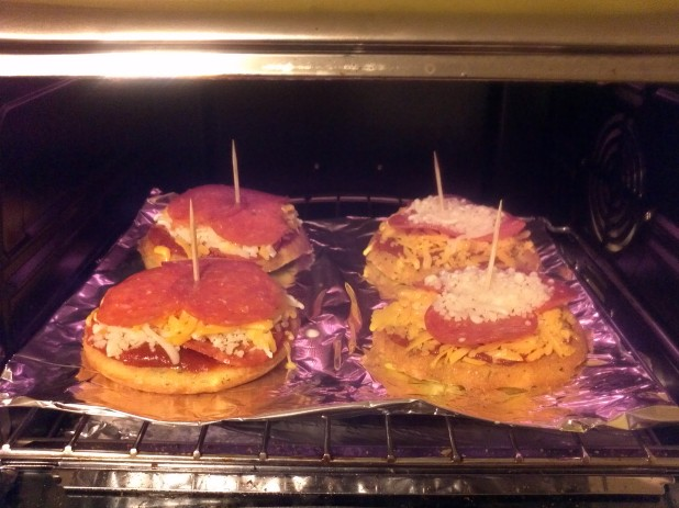 Personal Almond Bun Pizzas Cooking