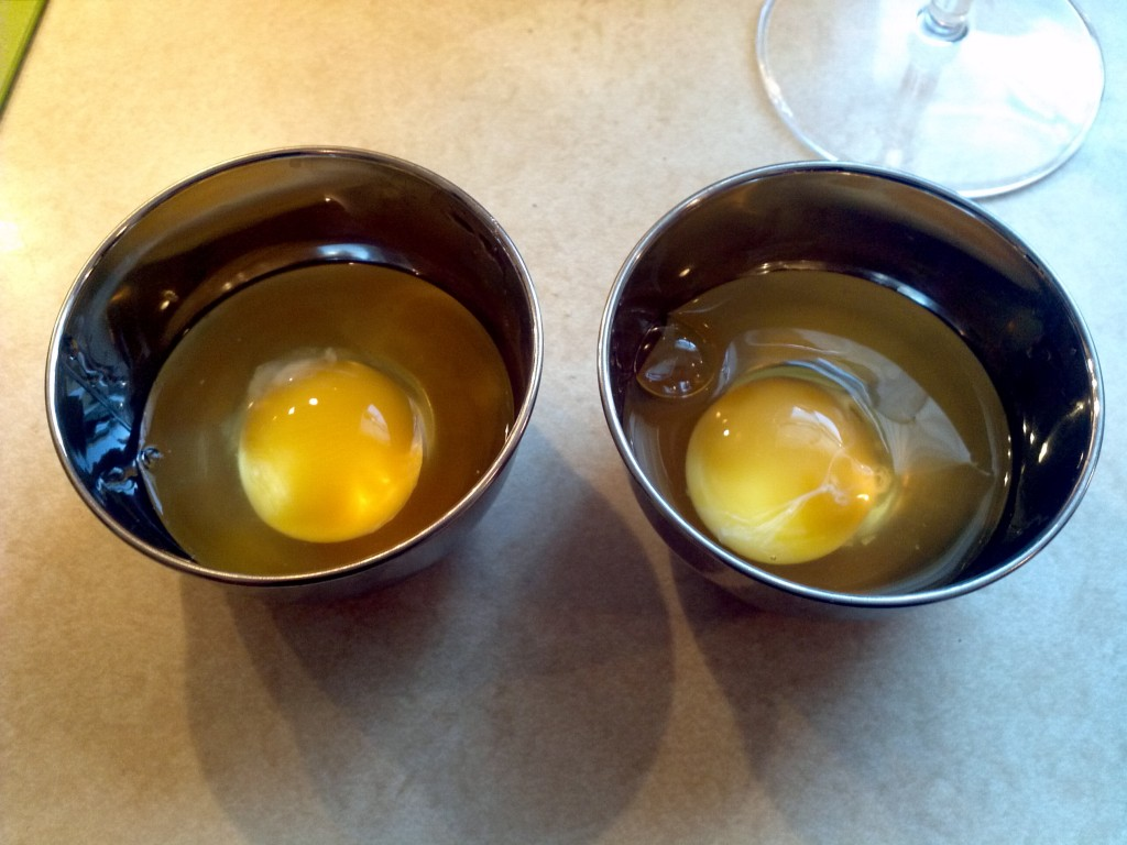 Eggs in prep cups