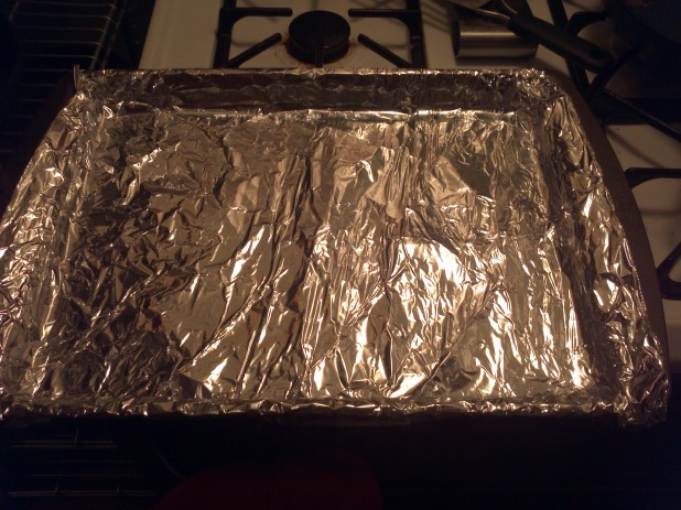 Foil on pan
