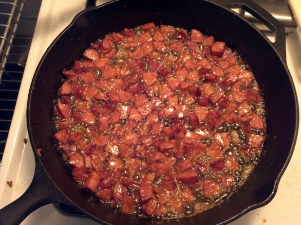 Frying Chorizo