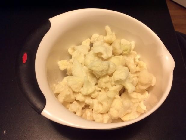 Frozen Cauliflower in mixing bowl