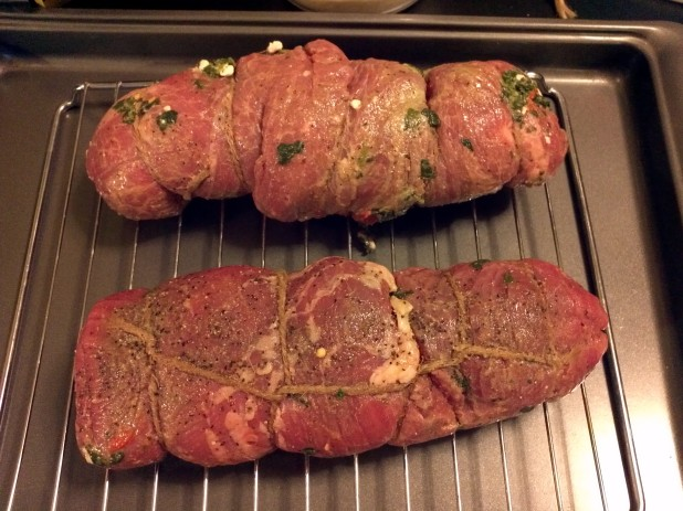 Seared and Stuffed Flank Steak ready for Oven