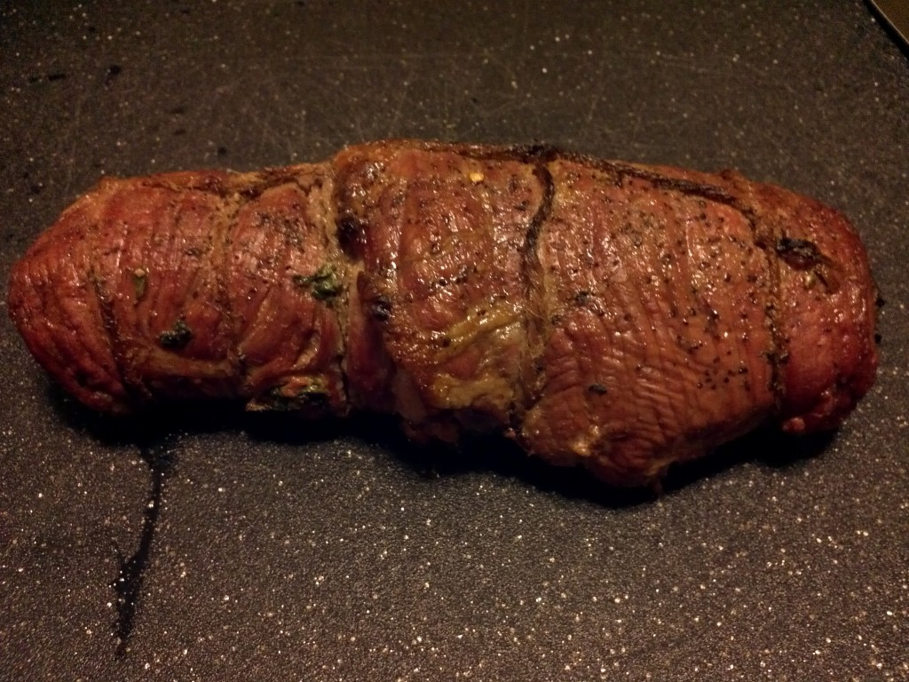 Finished Seared and Stuffed Flank Steak