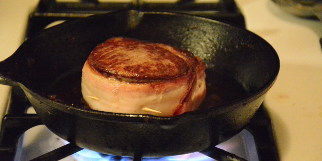 Bacon wrapped Filet Mignon with Bleu Cheese Butter