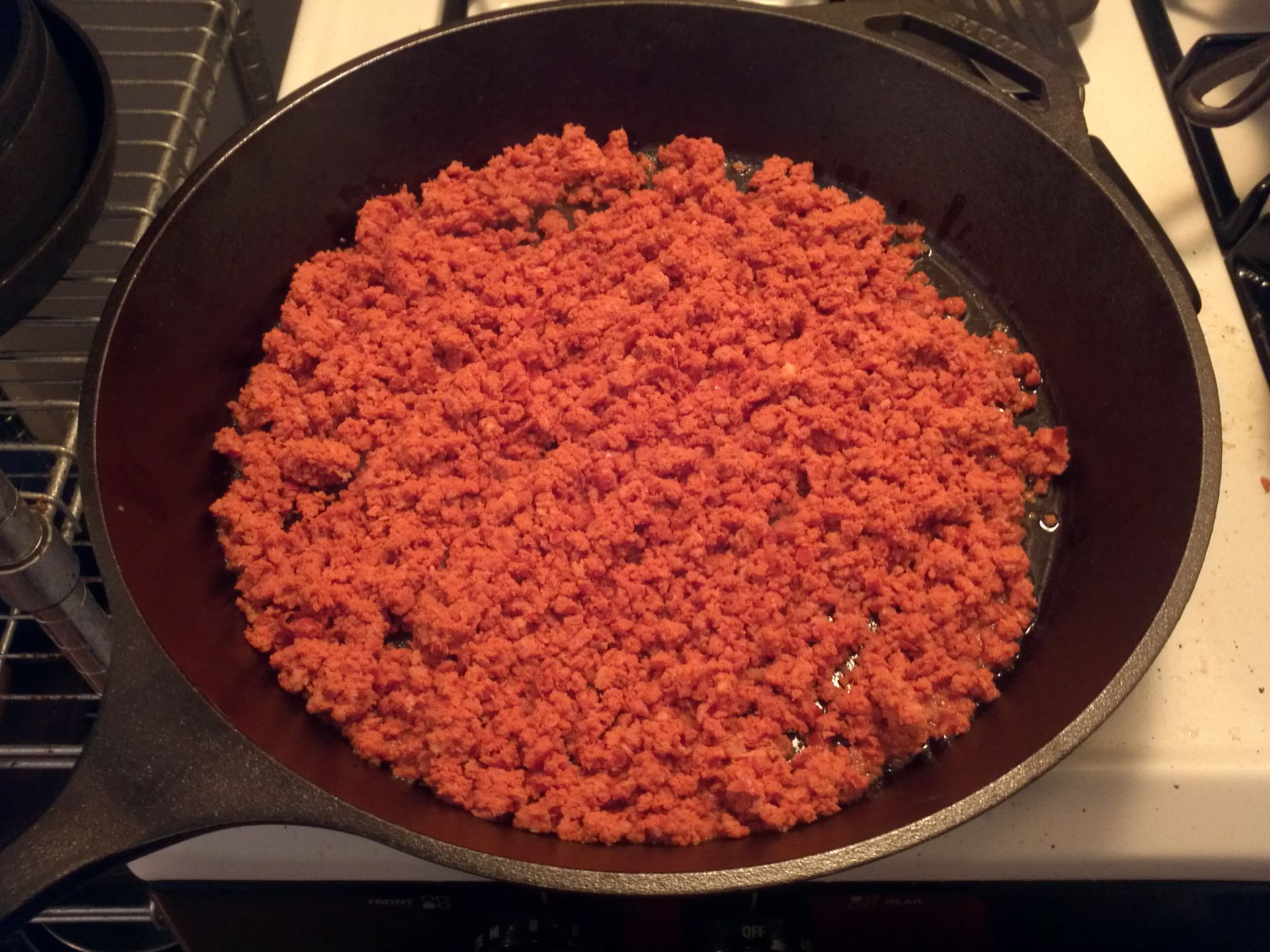 Spread The Ground Chorizo Out On The Skillet And Cook Away!