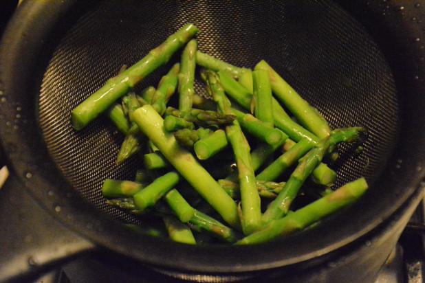 drained asparagus