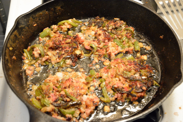 Frying bacon hash