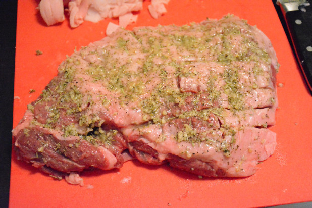 Rub top and bottom of lamb with spices