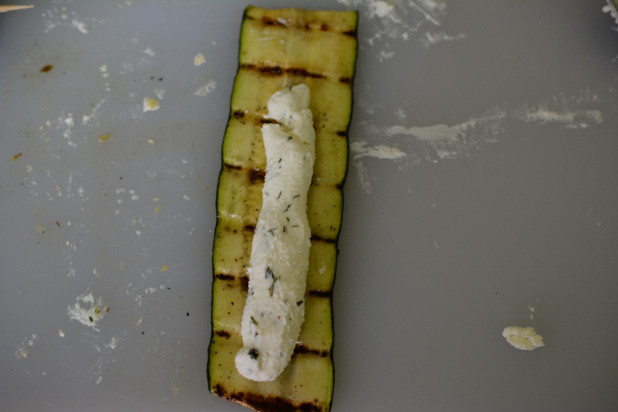 Goat cheese filling on zucchini strips