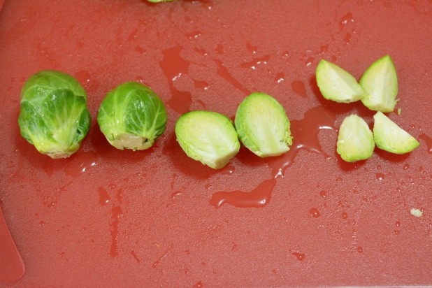 Quartering Brussels Sprouts
