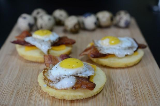 Open Faced Quail Egg Sandwich - Caveman Keto