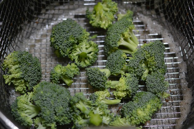 Broccoli Florets in Fryer
