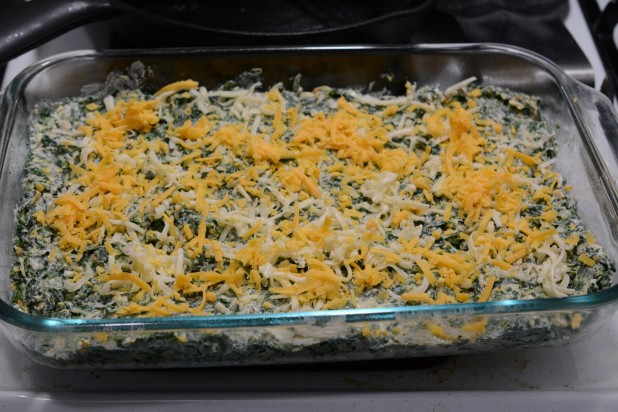 Cheese on top of Spinach Crap
