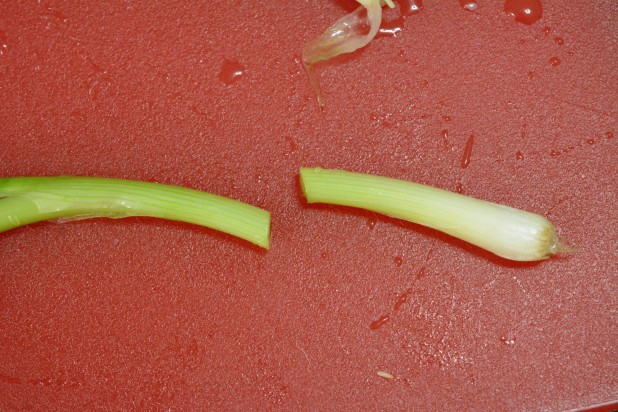 Chop Ends off of Green Onions