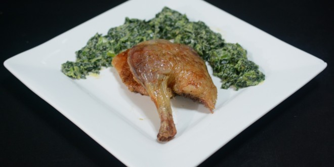 Quartered Duck with Cheesy Spinach