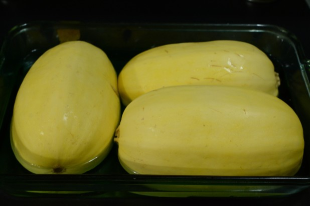 Spaghetti Squash Ready For the Oven