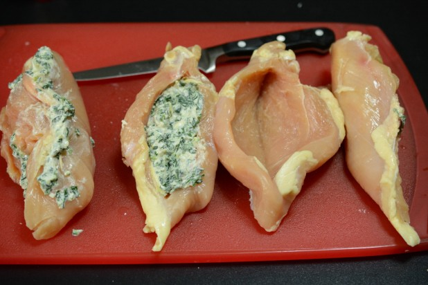 Chicken Breasts Split and Stuffed