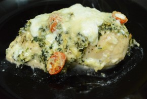Chicken Stuffed and Topped with Spinach Artichoke Dip