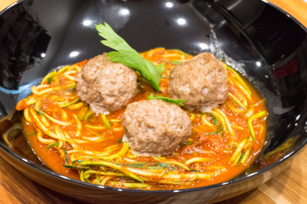 Finished Zoodles with Lamb Meatballs