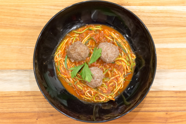 Zoodles with Lamb Meatballs