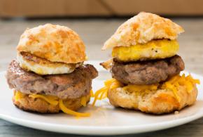 Cheddar Carbquik Biscuit Breakfast Sandwich