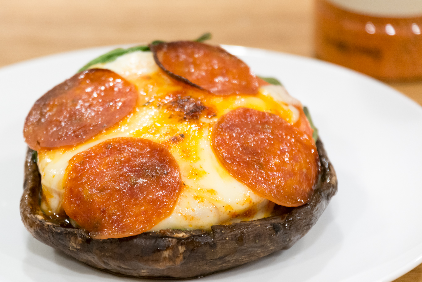 and crispy pepperoni as the portobello pizzas come out of the oven