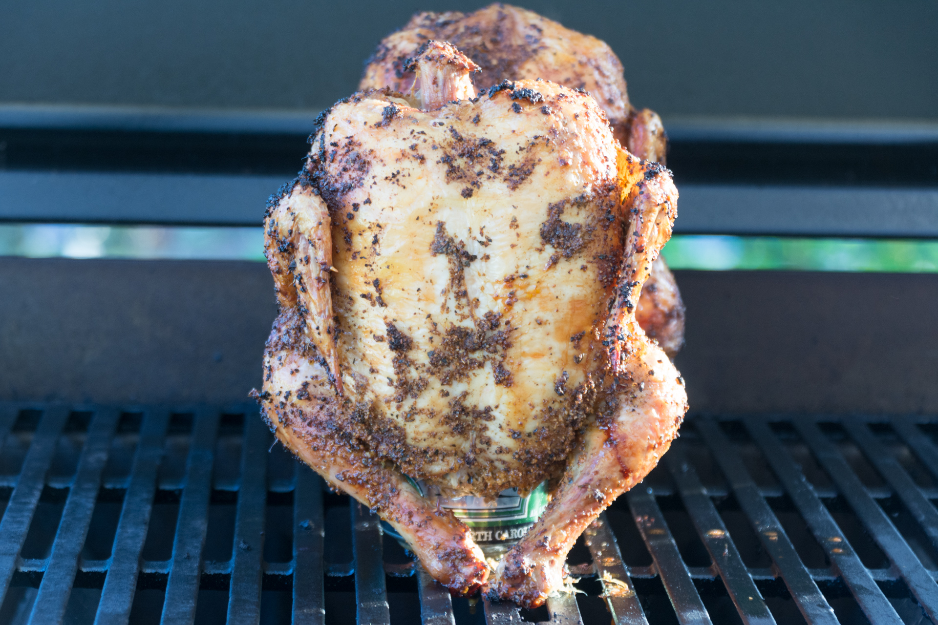 Finished Beer Can Chicken on the Grill