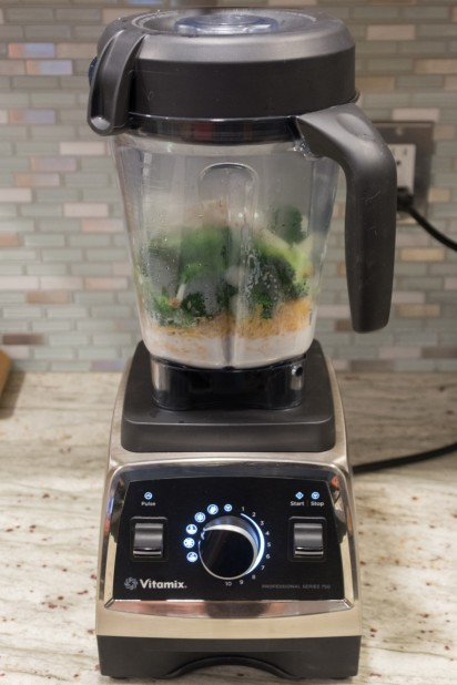 Broccoli Soup in the Vitamix before Blending