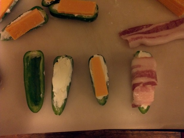 Process of making Stuffed Jalapenos wrapped in Bacon