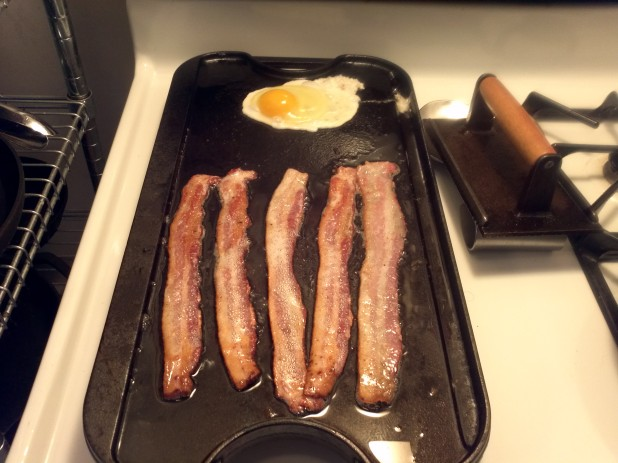 Cast Iron Griddle with Bacon and Eggs