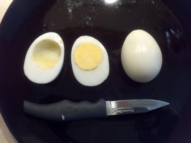 Steps of deviled eggs