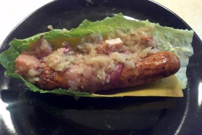 Bacon Wrapped Brat with cheese and Kohlrabi Kraut
