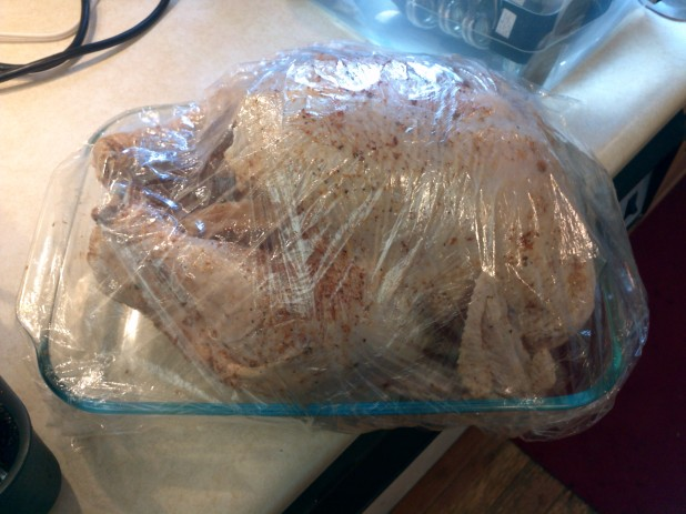 Injected turkey, ready for frying