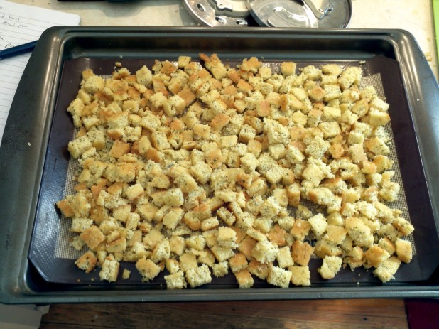 Croutons ready for cooking