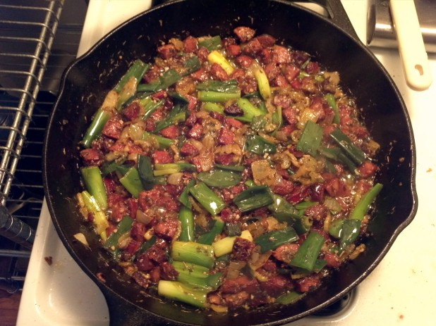 Green onions, vegetables and Chorizo