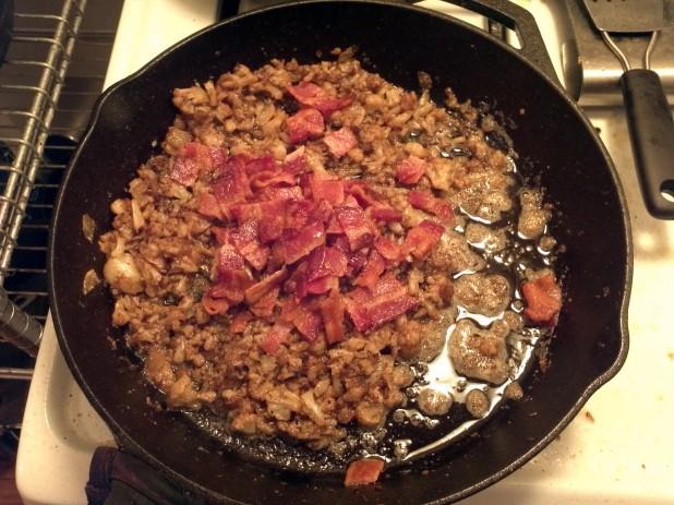 Add bacon to cauliflower