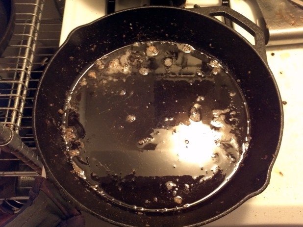 Bacon grease in cast iron skillet