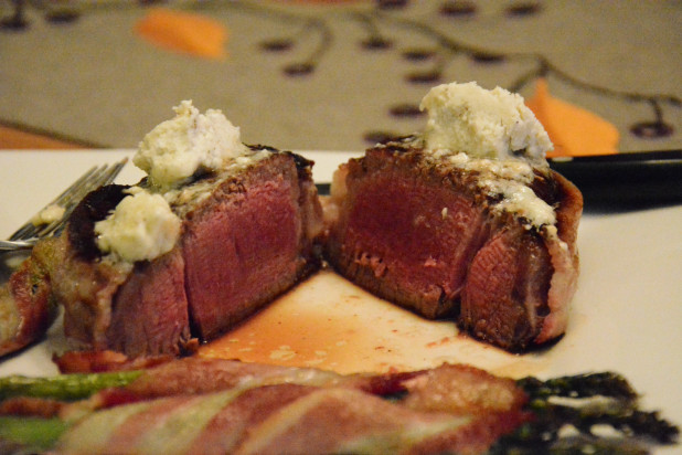 Medium Rare Bacon Wrapped Filet Mignon with Bleu Cheese Butter