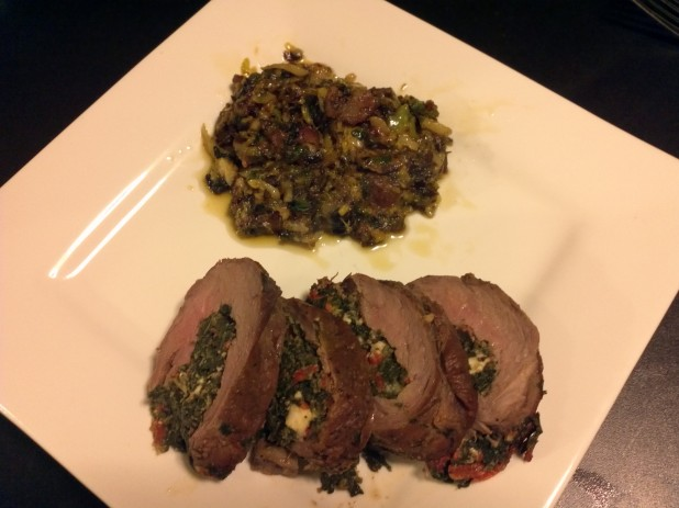 Cheesy Brussels Sprouts with Seared and Stuffed Flank Steak