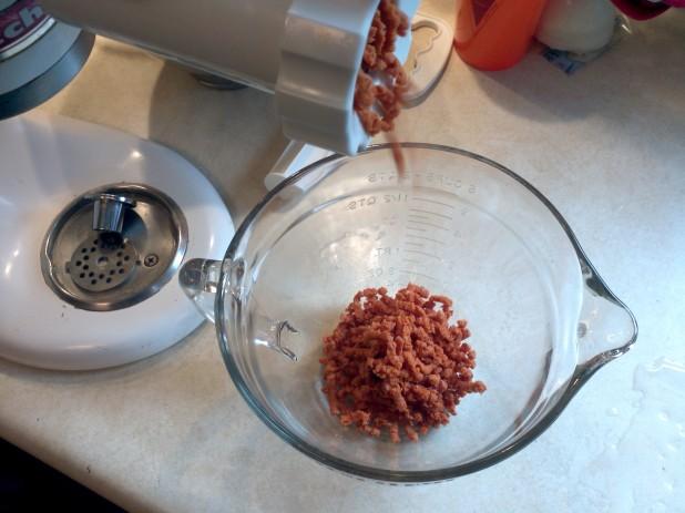 grinding chorizo