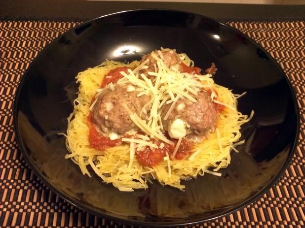 Spaghetti Squash and Stuffed Meatballs