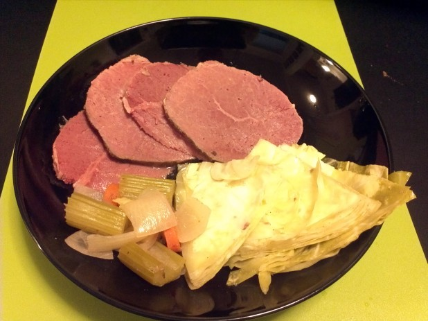 Finished Crockpot Corned Beef and Cabbage