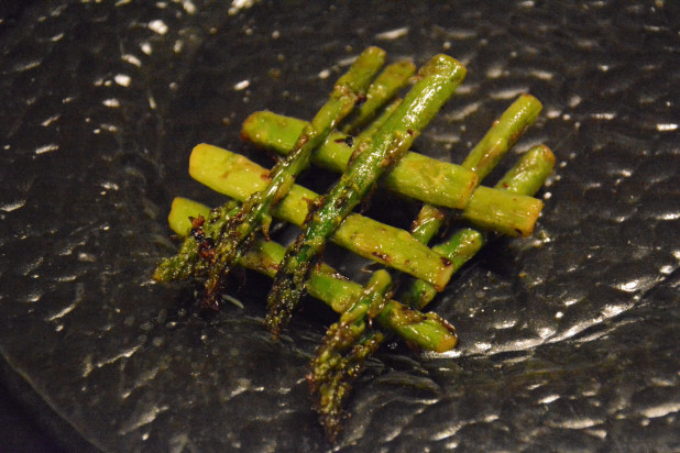 Finished garlic asparagus