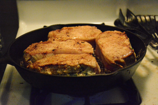 Seared pork chops