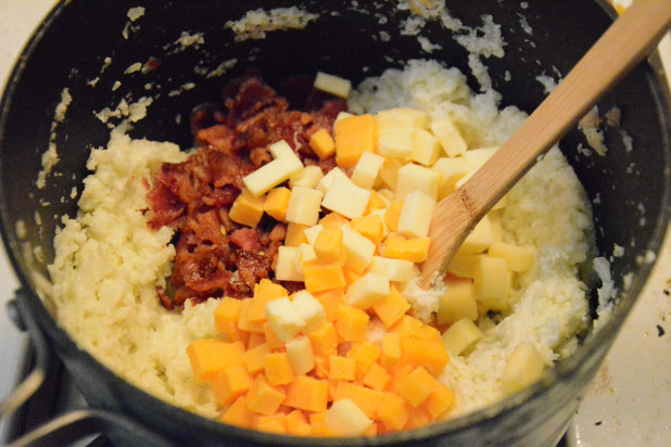 Adding Cheese and Bacon