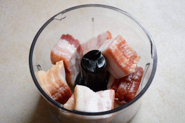 Bacon in the food processor